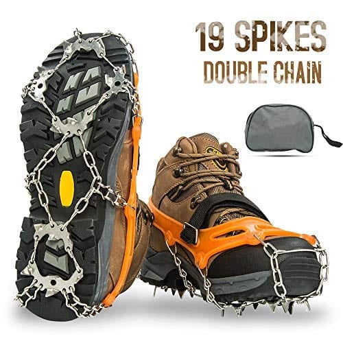 Aoriente Ice Fishing, Crampons, Ice Cleats for Men Women Ice Snow Grips Shoe Cleats with 19 Spikes Traction Cleats for Walking and Hiking on Ice and Snow