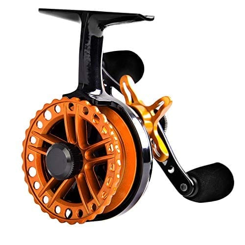 Fiblink Inline Ice Fishing Reel Right/Left in Line Ice Reel with 4+1 Ball Bearings (Orange, Right Handed)