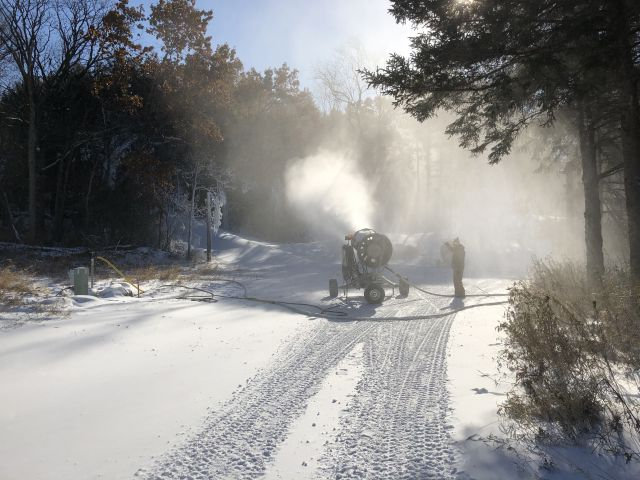 Cold temperatures have allowed the Friends of Lapham Peak to begin making snow for the man-made snow cross-country ski loop . - Photo credit: John McCarthy, Friends of Lapham Peak