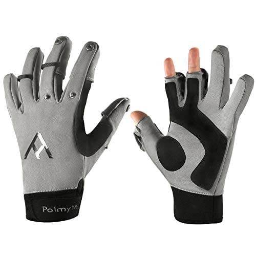 Palmyth Flexible Fishing Gloves Warm for Men and Women Cold Weather Insulated Water Repellent Great for Ice Fishing Fly Fishing Photography Motorcycling Running Shooting Cycling (Black/Grey, XX-Large)