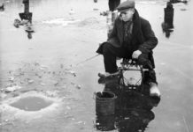 Vintage Ice Fishing Photo of Fishing in a Blue-hole in the Ice - Ice Fishing Digest