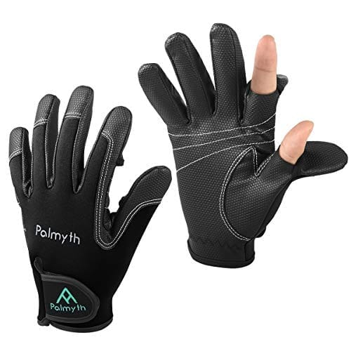 Palmyth Neoprene Fishing Gloves for Men and Women 2 Cut Fingers Flexible Great for Photography Fly Fishing Ice Fishing Running Touchscreen Texting Hiking Jogging Cycling Walking (Black, Small)
