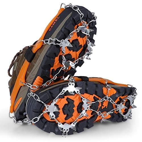 SPGOOD Ice Cleats Crampons 1 Pair for Boots Shoes Women Men Kids 19 Stainless Spikes Traction Cleats Fishing Hiking Walking Mountaineering Climbing 19 Spikes-Orange XL