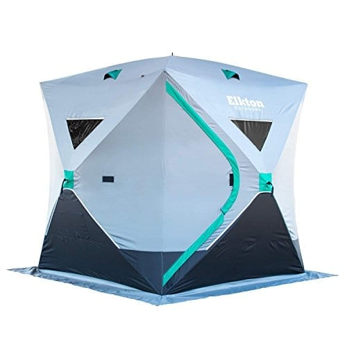 Elkton Outdoors Portable 3-4 Person Ice Fishing Tent with Ventilation Windows and Carry Pack, Ice Fishing Shelter Includes Tent, Carry Pack, Ice Anchors and Storage Compartments