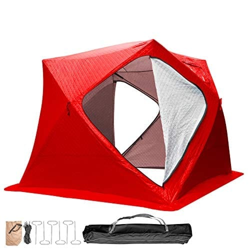 Popsport Ice Fishing Tent 3/4/8 Person Thicken Waterproof Pop-up Portable Ice Fishing Shelter with Detachable Ventilation Windows Carry Bag Frost Resisting Oxford Fabric Zippered Door (Red 3 People)