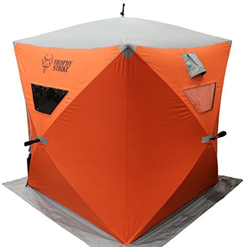 Trophy Strike 106706 Ice Shelter - Two Person, Durable, Flame Retardant Shell with Windows