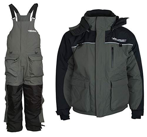 WindRider Ice Fishing Suit | Insulated Bibs and Jacket | Flotation | Tons of Pockets | Adjustable Inseam | Reflective Piping | Waterproof Gear for Ice Fishing and Snowmobiling (Medium)