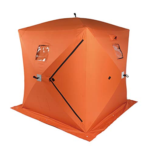 Yokstore Ice Fishing Tent - 2 Person Portable Ice Shelter for Outdoor Pop Up Waterproof Ice Fishing Shanty with Detachable Windows, Zippered Door & Carry Bag, Orange
