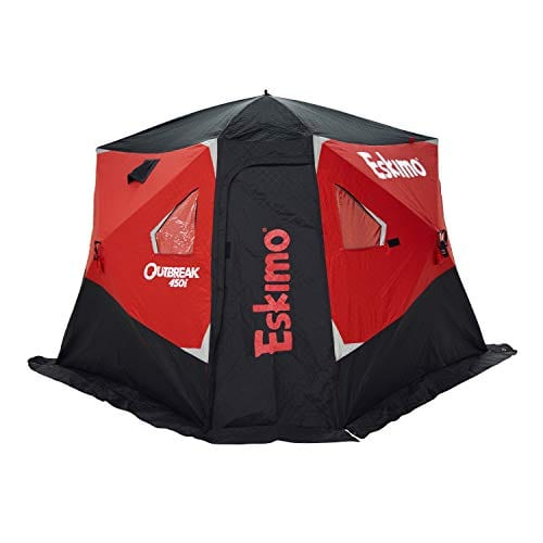 Eskimo Outbreak 450I Insulated Pop-Up Hub-Style Ice Fishing Shelter, Oversized Extra Large Door, 75 Square Feet of Fishable Area, Extra Tall, 600 Denier Gray Interior, 139 x 138 x 80 inches, Black/Red