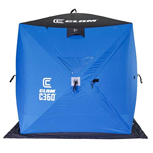 CLAM 14474 C-360 2-3 Person 6 Foot Lightweight Portable Pop Up Ice Fishing Angler Hub Shelter Tent with Anchors, Tie Ropes, and Carrying Bag
