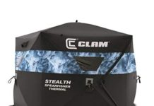 CLAM 10947 Stealth Spearfisher Thermal 9 Foot Pop Up Ice Sight Fishing Spearfishing Shelter, Black