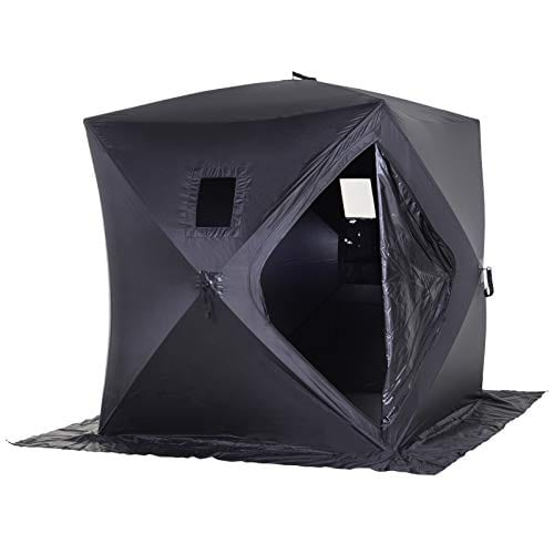 Outsunny 2 Person Pop Up Clam Ice Fishing Tent Portable Shelter - Black